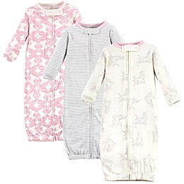 Touched by Nature® 3-Pack Bird Organic Cotton Zipper Gowns in Pink/White