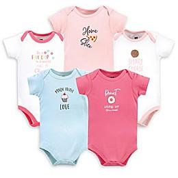 Hudson Baby® 5-Pack Food Girl Short Sleeve Bodysuits in Pink