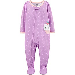 carter's® Cupcake Kitty Zip-Front Footie Pajama in Purple