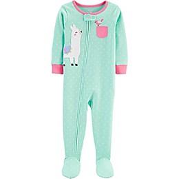 carter's® Llama Zip-Front Footie Pajama in Green