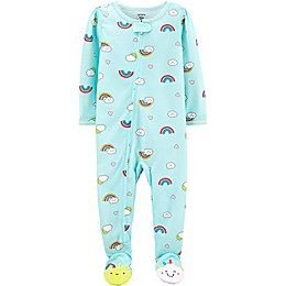 carter's® Rainbow Zip-Front Footed Pajama in Mint