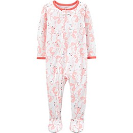 carter's® Flamingo Zip-Front Footie Pajama in White
