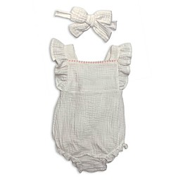Isaac Mizrahi 2-Piece Pompom Romper and Bow Headband Set in Ivory