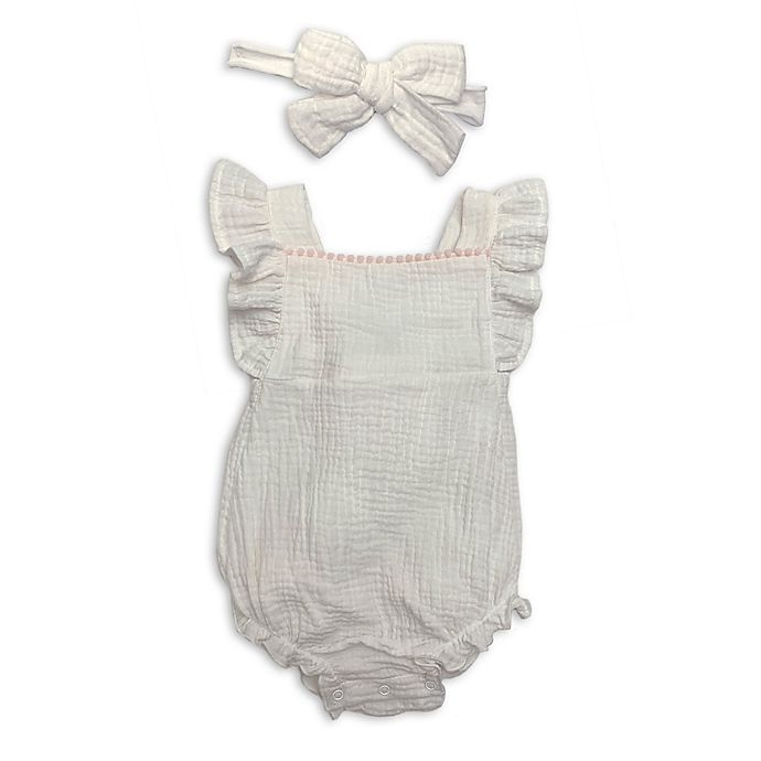 Alternate image 1 for Isaac Mizrahi 2-Piece Pompom Romper and Bow Headband Set in Ivory