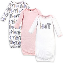Hudson Baby® 3-Pack Safari Nightgowns in White/Pink