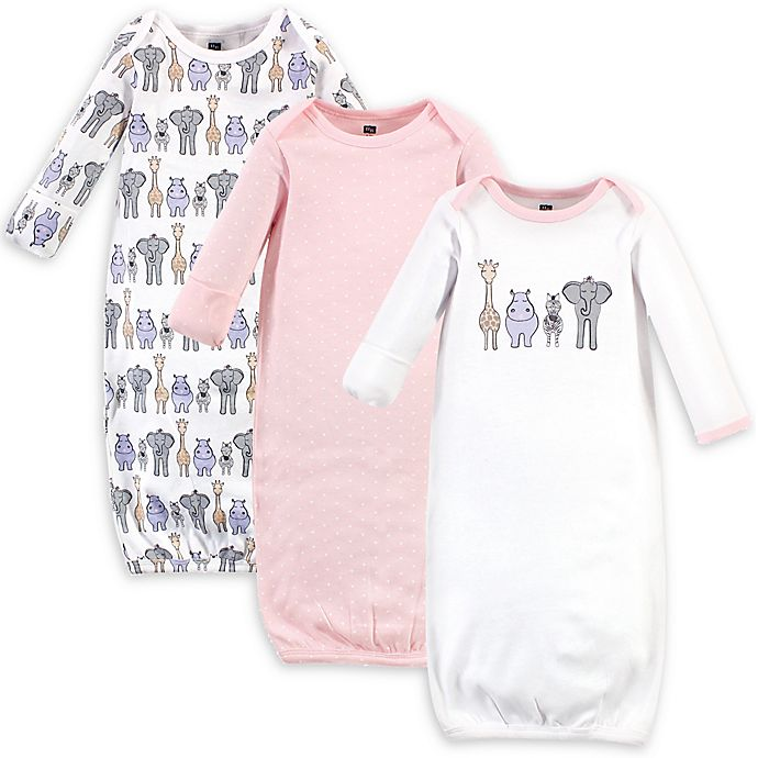 Alternate image 1 for Hudson Baby® 3-Pack Safari Nightgowns in White/Pink