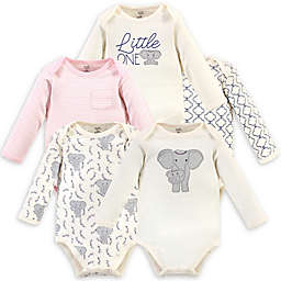 Touched by Nature® Size 0-3M 5-Pack Organic Cotton Long Sleeve Bodysuits in Pink
