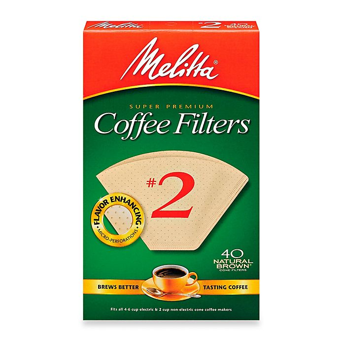 Alternate image 1 for Melitta® 40-Count Number 2 Natural Brown Super Premium Coffee Filters