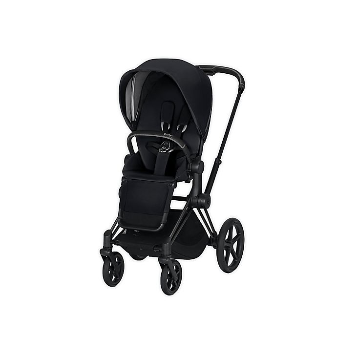 Alternate image 1 for Cybex Platinum e-Priam Stroller with Matte Black Frame and Seat