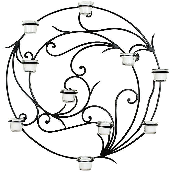 Alternate image 1 for Safavieh 23.6-Inch Round Tea Light Wall Decor in Black