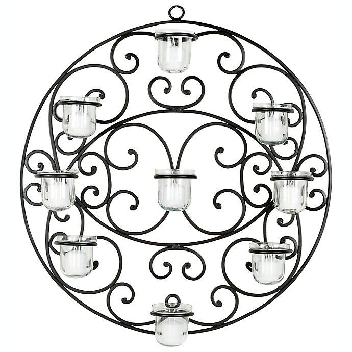 Alternate image 1 for Safavieh Scroll 23.6-Inch Round Tea Light Wall Decor in Black