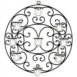 Safavieh Scroll 23.6-Inch Round Tea Light Wall Decor in Black
