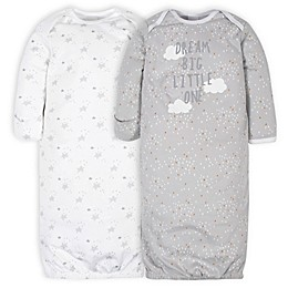 Gerber® Size 0-6M 2-Pack Lamb Gowns in White/Grey