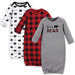 Little Treasure Size 0-6M 3-Pack Baby Bear Gowns in Grey/Red