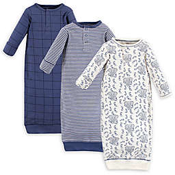 Touched by Nature® Preemie 3-Pack Elephant Organic Cotton Henley Gowns in Blue