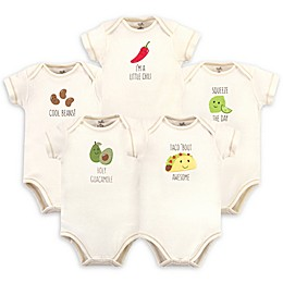 Touched by Nature® 5-Pack Taco Organic Cotton Short Sleeve Bodysuits in Beige