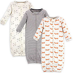 Touched by Nature® Preemie 3-Pack Fox Organic Cotton Zipper Gowns in White