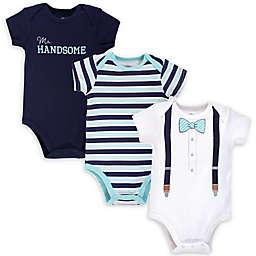 Little Treasure™ 3-Pack Mr. Handsome Bodysuits in Blue
