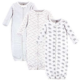 Touched by Nature® 3-Pack Marching Elephants Organic Cotton Zipper Gowns in White