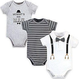 Little Treasure 3-Pack Mommy's Man Short Sleeve Bodysuits in White