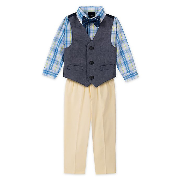 Alternate image 1 for Nautica Size 18M 4-Piece Vest, Plaid Shirt, Bowtie and Pant Set in Navy/Yellow