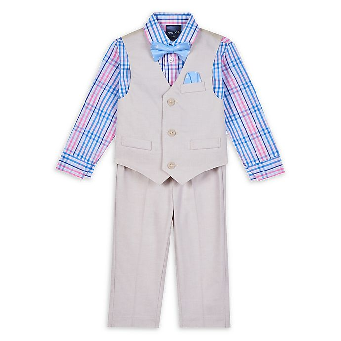 Alternate image 1 for Nautica Size 4-Piece Oxford Vest, Plaid Shirt, Anchor Bowtie and Pant Set in Bamboo/Blue