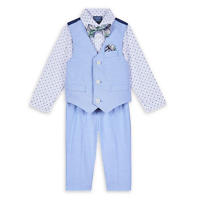 Alternate image 1 for Nautica® 4-Piece Shirt, Vest, Bow Tie, and Pant Set in Oxford Blue