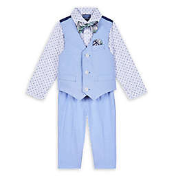 Nautica® Size 6-9M 4-Piece Shirt, Vest, Bow Tie, and Pant Set in Oxford Blue