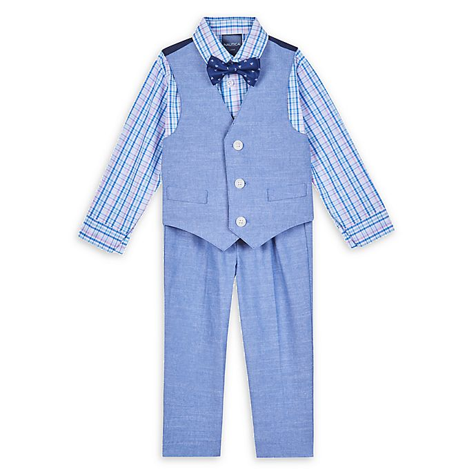 Alternate image 1 for Nautica® 4-Piece Sailboat Shirt, Vest, Bow Tie, and Pant Set in Lavender