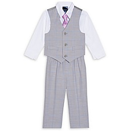 Nautica® 4-Piece Plaid Vest, Shirt, Tie and Pant Set in Grey