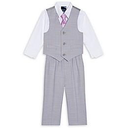 Nautica® 4-Piece Plaid Vest, Shirt, Tie and Pant Set in Grey