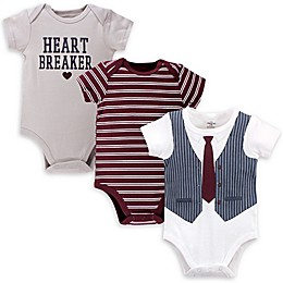 Little Treasure™ 3-Pack Heart Breaker Bodysuits in Blue