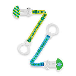 MAM 2-Pack Paci Clip with Leash in Blue/Yellow