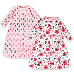 Touched by Nature Size 0-3M 2-Pack Flowers Organic Cotton Sleeping Bags in Coral