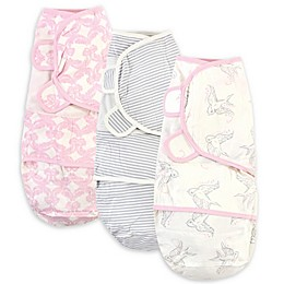 Touched by Nature Size 0-3M 3-Pack Birds Organic Cotton Swaddle Wraps in Pink