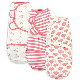 Touched by Nature Size 0-3M 3-Pack Tulips Organic Cotton Swaddle Wraps in Pink