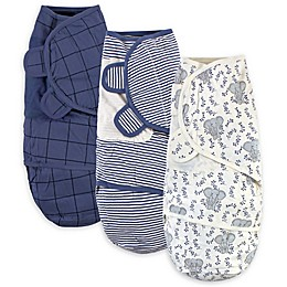 Touched by Nature® Size 0-3M 3-Pack Elephant Organic Cotton Swaddle Wraps in Blue
