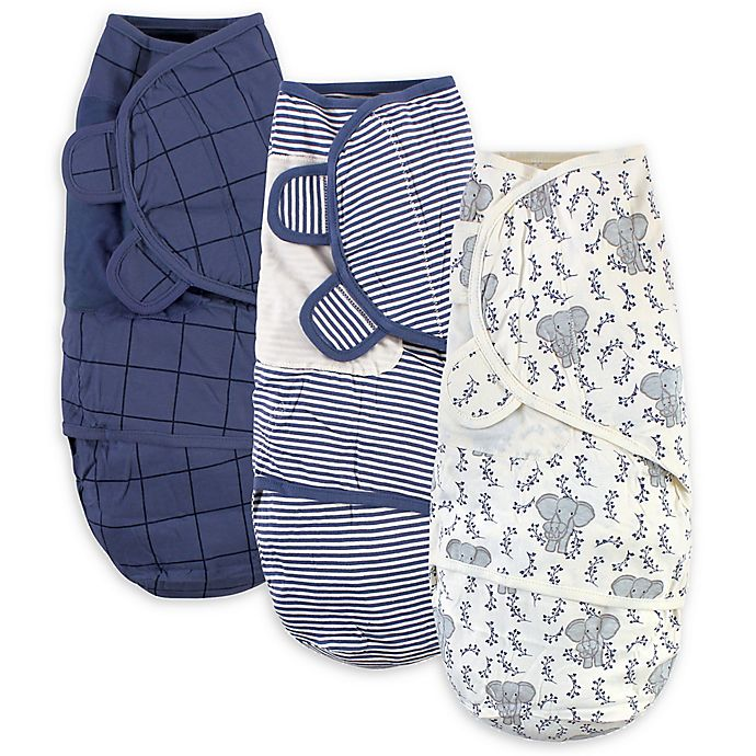 Alternate image 1 for Touched by Nature® Size 0-3M 3-Pack Elephant Organic Cotton Swaddle Wraps in Blue