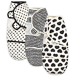 Touched by Nature® Size 0-3M 3-Pack Heart Organic Cotton Swaddle Wraps in Black