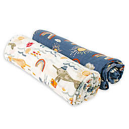 Bebe au Lait® 2-Pack Narwhals and Rainbows Muslin Swaddle Blankets in White/Blue