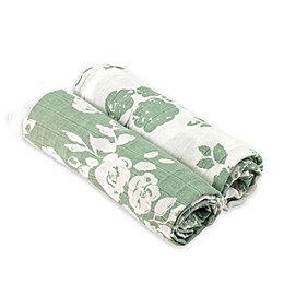 Bebe au Lait® 2-Pack Floral Muslin Swaddle Blankets in Green/White