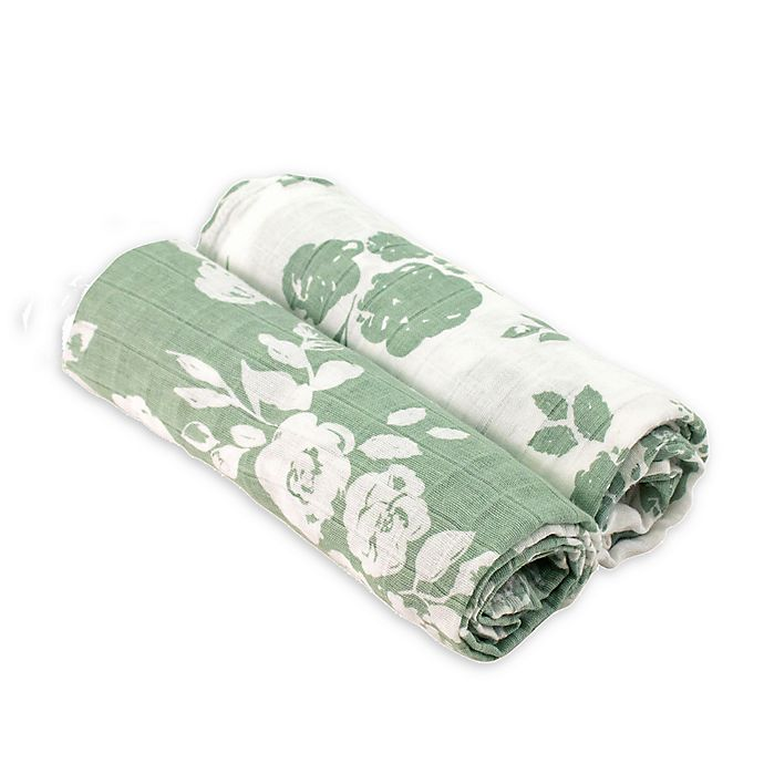Alternate image 1 for Bebe au Lait® 2-Pack Floral Muslin Swaddle Blankets in Green/White