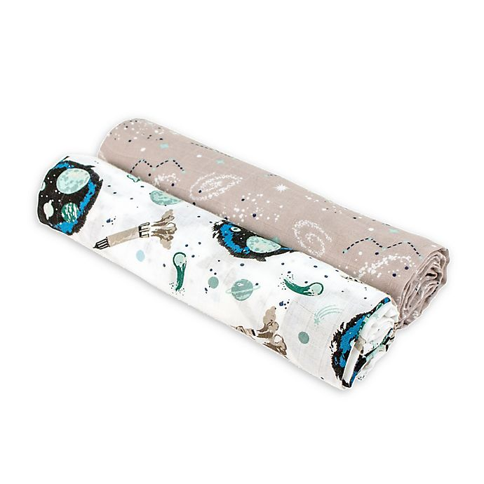 Alternate image 1 for Bebe au Lait® 2-Pack Space and Galaxy Muslin Swaddle Blankets in White/Taupe