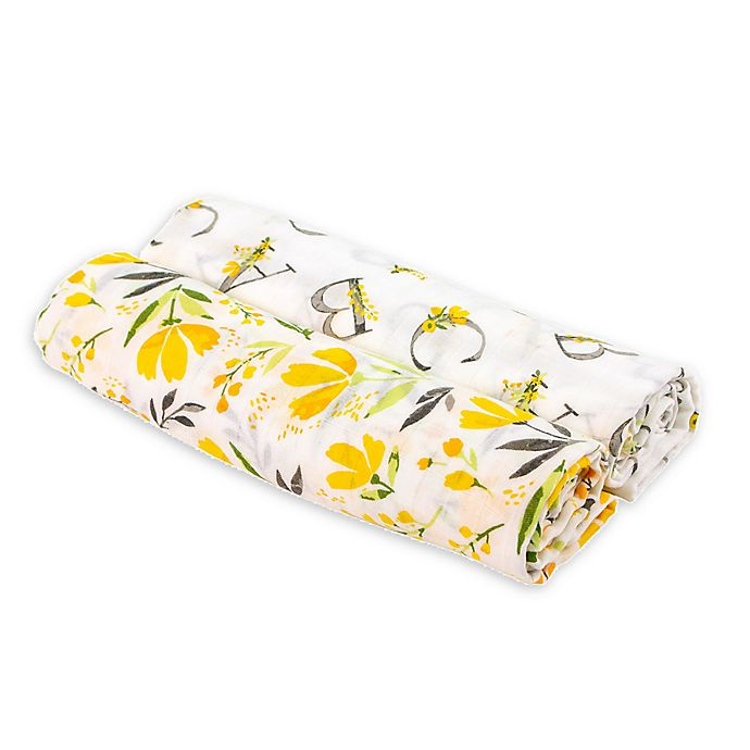 Alternate image 1 for Bebe au Lait® 2-Pack Royal Garden and Alphabet Muslin Swaddle Blankets in White/Yellow