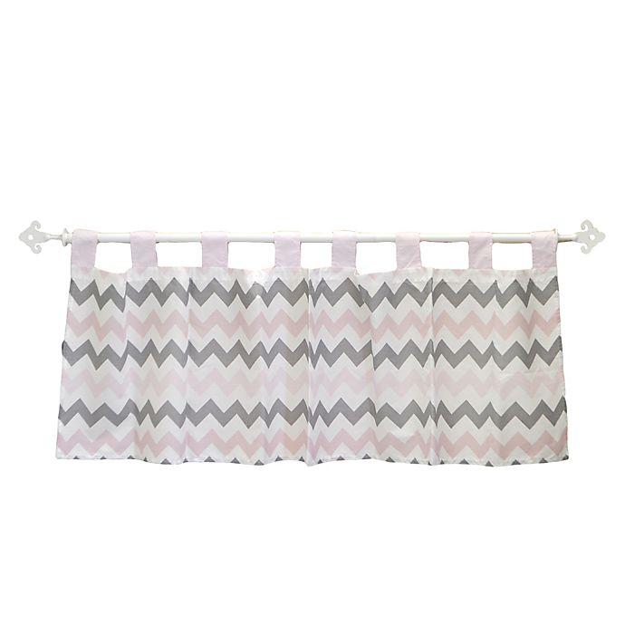 My Baby Sam Chevron Window Valance In Pink Grey Bed