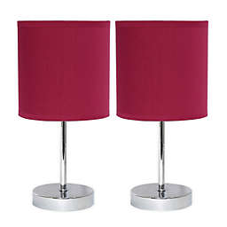 Mini Table Lamps in Chrome with Wine Fabric Shades (Set of 2)