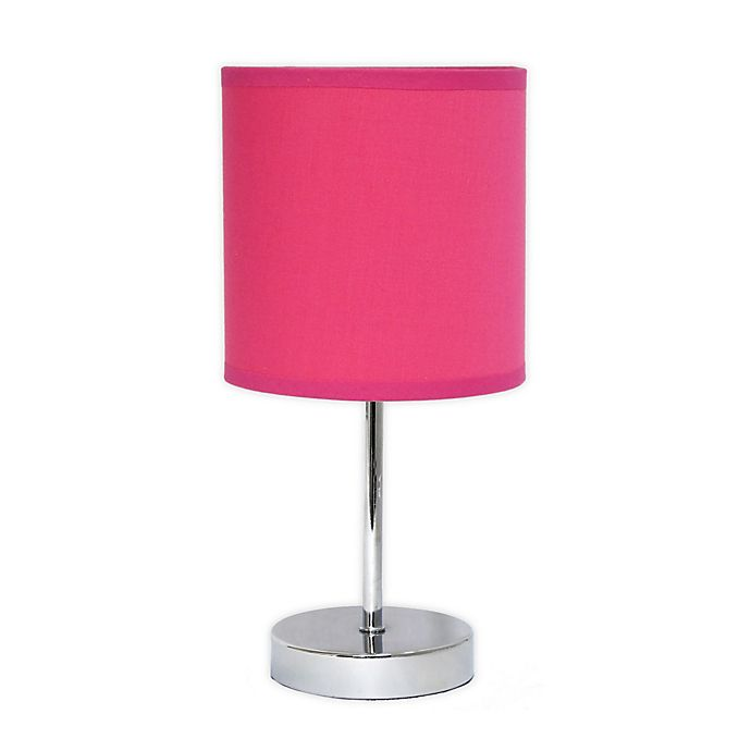 Mini Table Lamp In Chrome With Hot Pink Fabric Shade Bed Bath Beyond