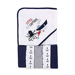 """Luvable Friends® 6-Piece """"Little Sea Captain"""" Hooded Towel and Washcloth Set in Blue"""