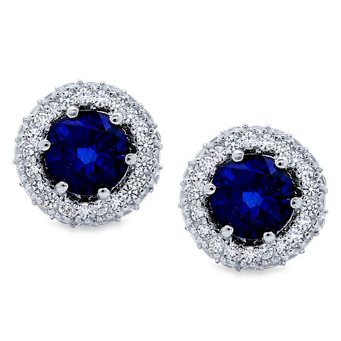 Alternate image 1 for CRISLU Round Pave Sapphire Colored and Cubic Zirconia Earrings