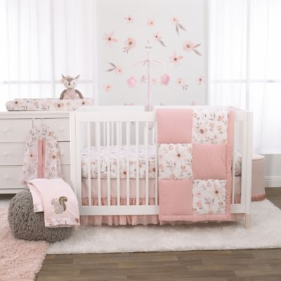 The Peanutshell Grace Crib Bedding, Baby Girl Pink And Grey Cot Bedding